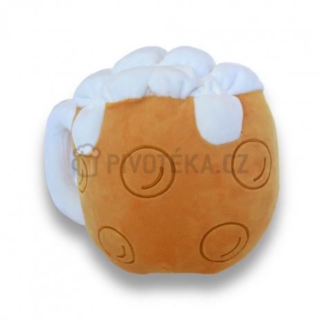 Plyšový tvarovaný polštář pivo
