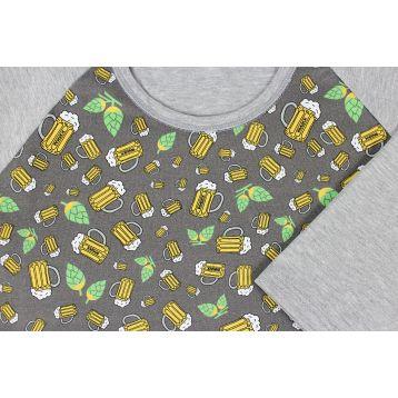 Pyžamo pivo krátký rukáv vel. XL šedé celotisk