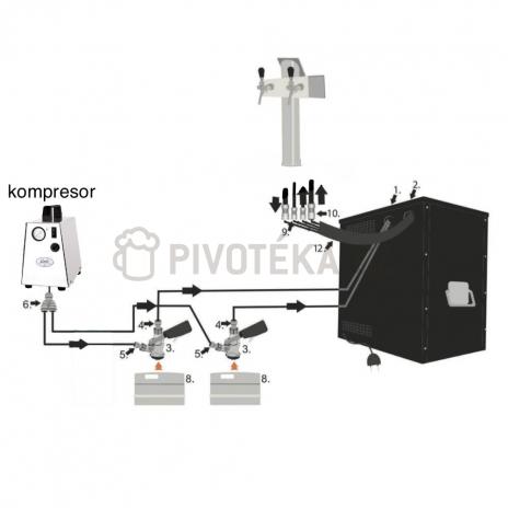 Domácí hospoda Lindr AS-40 2x nápoj tlakování kompresor