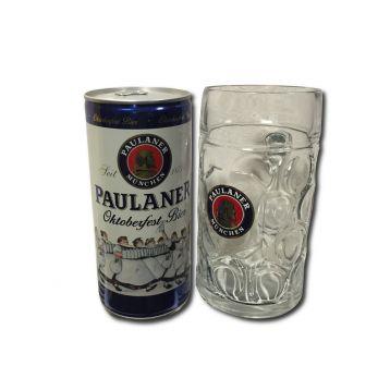 Paulaner oktoberfest 13°  1l plech + tuplák sklenice