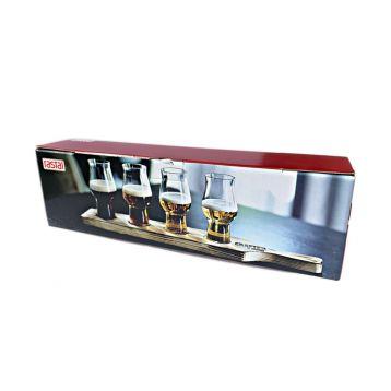 Degustační set 4 x sklo + prkýnko 19,5cl